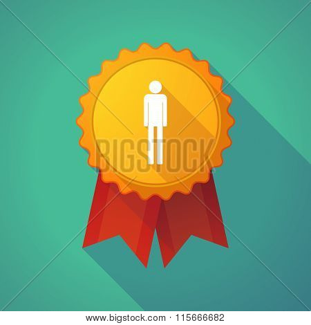 Long Shadow Badge Icon With A Male Pictogram