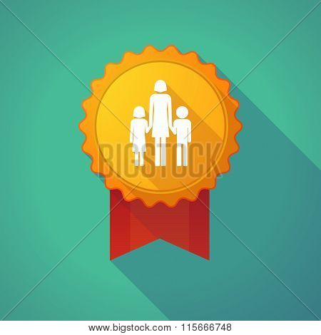 Long Shadow Badge Icon With A Female Single Parent Family Pictogram