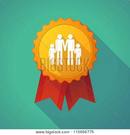 Long Shadow Badge Icon With A Gay Parents  Family Pictogram