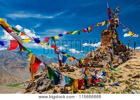 Buddhist prayer flags (lungta) in Spiti Valley, Himachal Pradesh, India