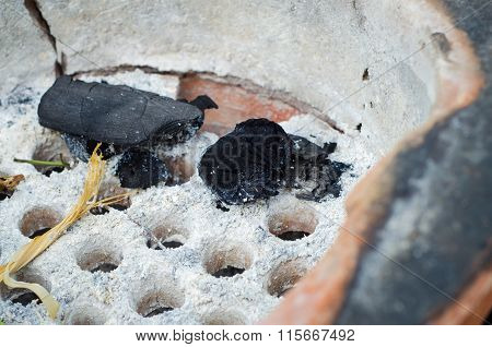 Black Charcoal In Old Stove