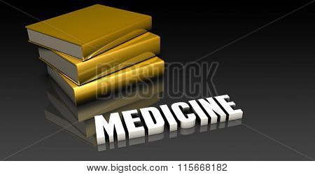 Medicine Subject with a Pile of Education Books