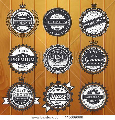 Premium quality, guarantee, genuine, badges vector illustration
