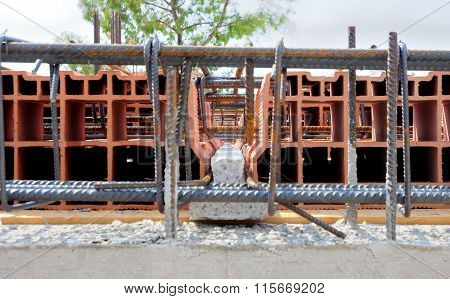 concrete beams and metal reinforcement