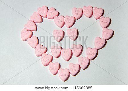 Heart Shaped Arrangement Of Candy Hearts