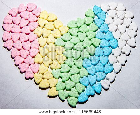 Colorful Heart Shaped Arrangement Of Candy Hearts