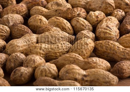 Unshelled Peanuts As Background, Closeup