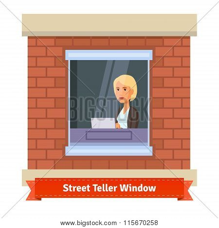 Street teller window with a working clerk woman