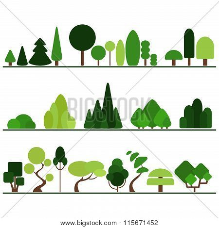 Set of flat trees including pine, bushes, fancy plants