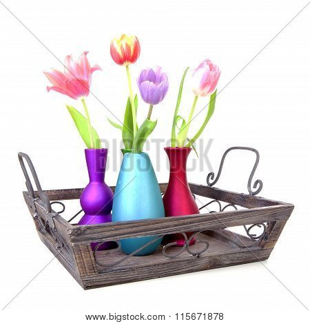 Dutch Tulips In Colorful Vases On Tray