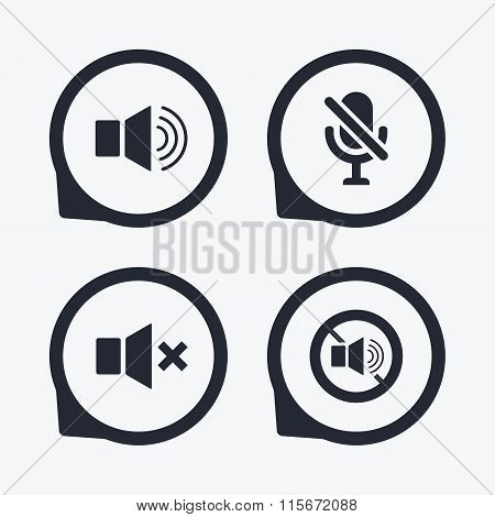 Player control icons. Sound, microphone and mute