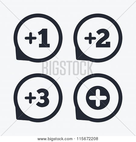 Plus icons. Positive symbol. Add one more sign.
