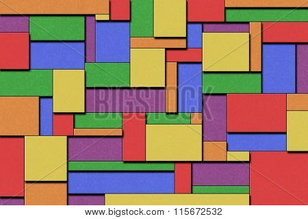 A Colorful Cubist Abstract Background with Squares and Paint Texture