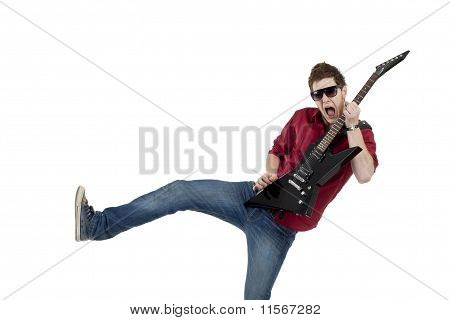 Rock Star With Guitar