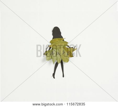 Meet Laurel ! A woman's  silhouette wearing a dress of laurel leaves on white background