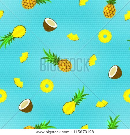 Seamless Pattern with Tropical Fruits. Vector illustration, eps10.