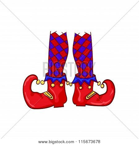 Red clown shoes and legs
