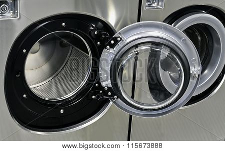 Industrial Washing Machines In A Public Laundromat