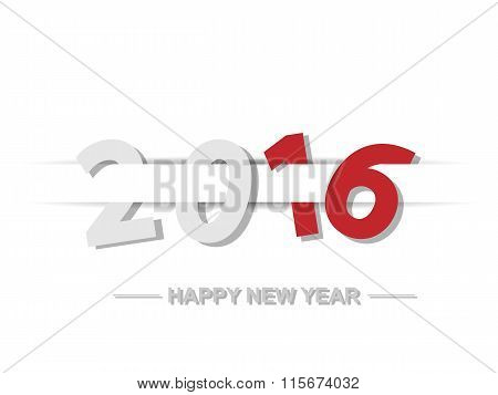 2016 Happy New Year Text Design With Shadows