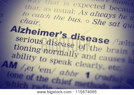 Close up of English dictionary page with word  Alzheimer's disease