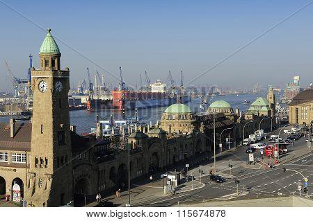 Landungsbrucken With Harbour And Docks On Elbe River, Hamburg, G