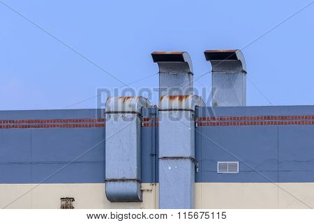 Exhaust Hood On The Roof Of Factory.
