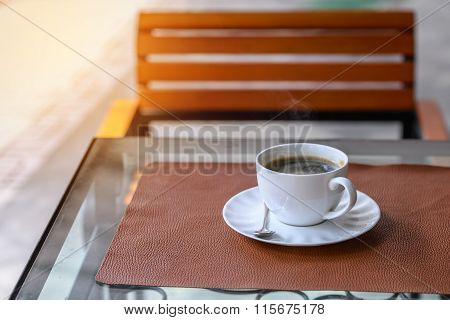 Hot Americano, Black Coffee In White Cup On Wooden Table.