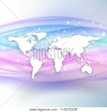Silhouette of white world map with shadow on beautiful wave background, vector illustration