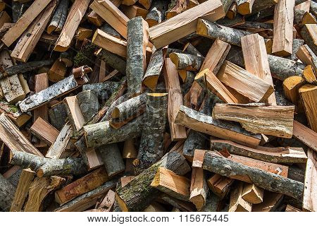 Firewood lie in the chaotic order