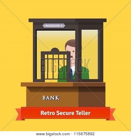 Retro secure caged teller window