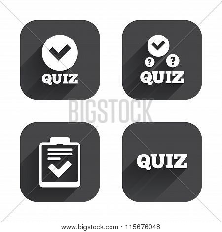 Quiz icons. Checklist with check mark symbol.