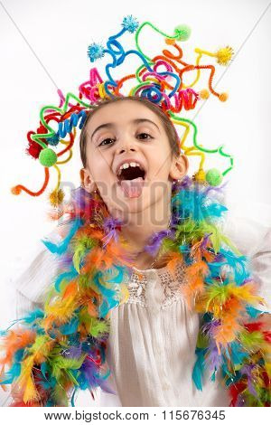 Happy Little Girl Celebrating With Party Streamers