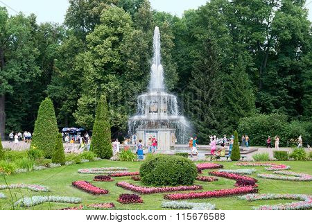 Peterhof. Russia. People near The Roman Fountain