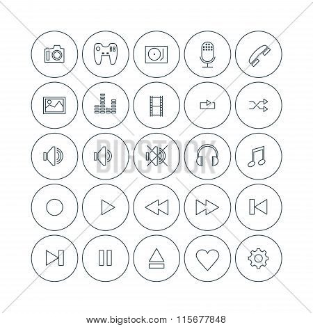 Set Of Vector Thin Line Multimedia Icons. Electronic Devices, Player Ui, File Types