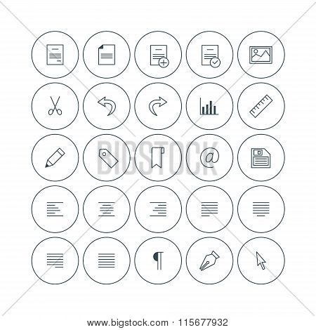Set Of Vector Thin Line Text Formattng Icons. Document Types, Alignment, Paragraph