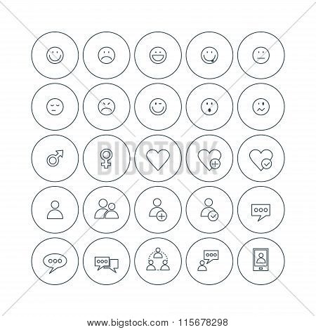 Set Of Vector Thin Line Social Icons. Emoticons, Gender Sign, User Profile, Message