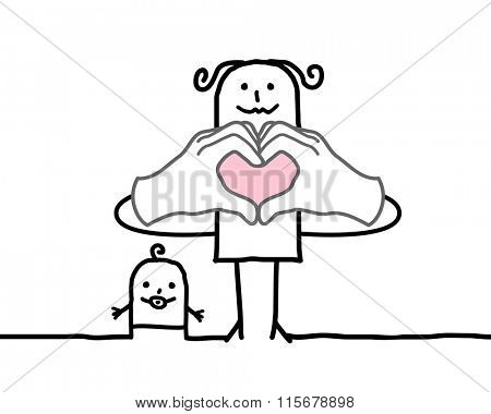 cartoon mother making heart sign with her fingers