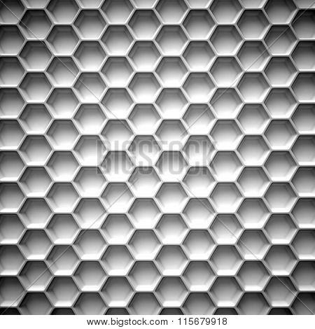 Black and white honeycomb. Abstract background. 3D