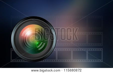 Photographic Lens On Dark Blue  Background