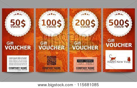 Set of modern gift voucher templates. Chinese new year background. Floral design with red monkeys, v
