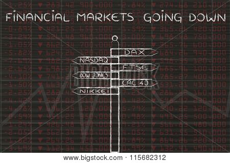 Indexes On Road Sign, With Text Financial Markets Going Down