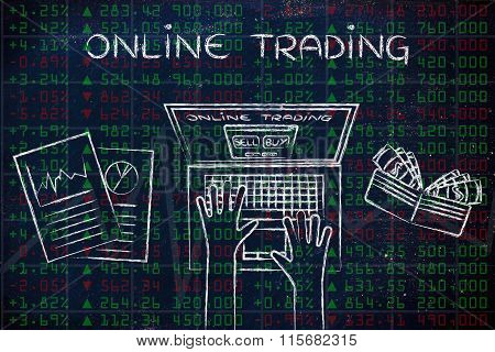 Computer User On Green And Red Stock Market Data, With Text Online Trading