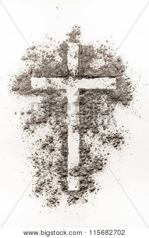 Christian Cross Symbol Made Of Ash