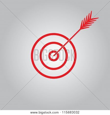 Target with arrow. Targer or aim icon. Vector illustration.