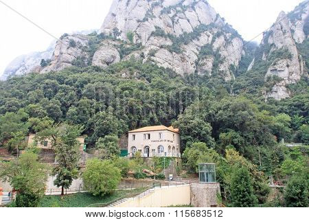 Montserrat, Spain - August 28, 2012: Station Of The Funicular De Sant Joan At  The Benedictine Abbey