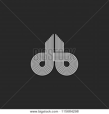 Letters Logo Db Monogram, Offset Line Overlapping Style, Mockup Emblem Business Card, Black And Whit