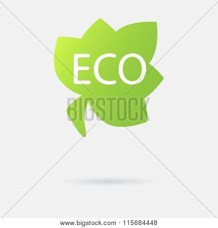 Eco icon. Green leaf with ecology symbol. Vector illustration.