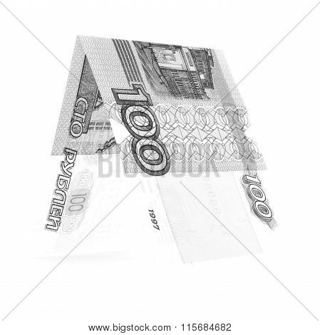 Black Hundred Rubles Folded In Half, Russian Roubles Isolated White