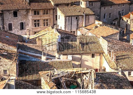 over the roofs of the Medieval town of Viviers Ardeche France