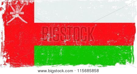 Oman vector grunge flag isolated on white background.
